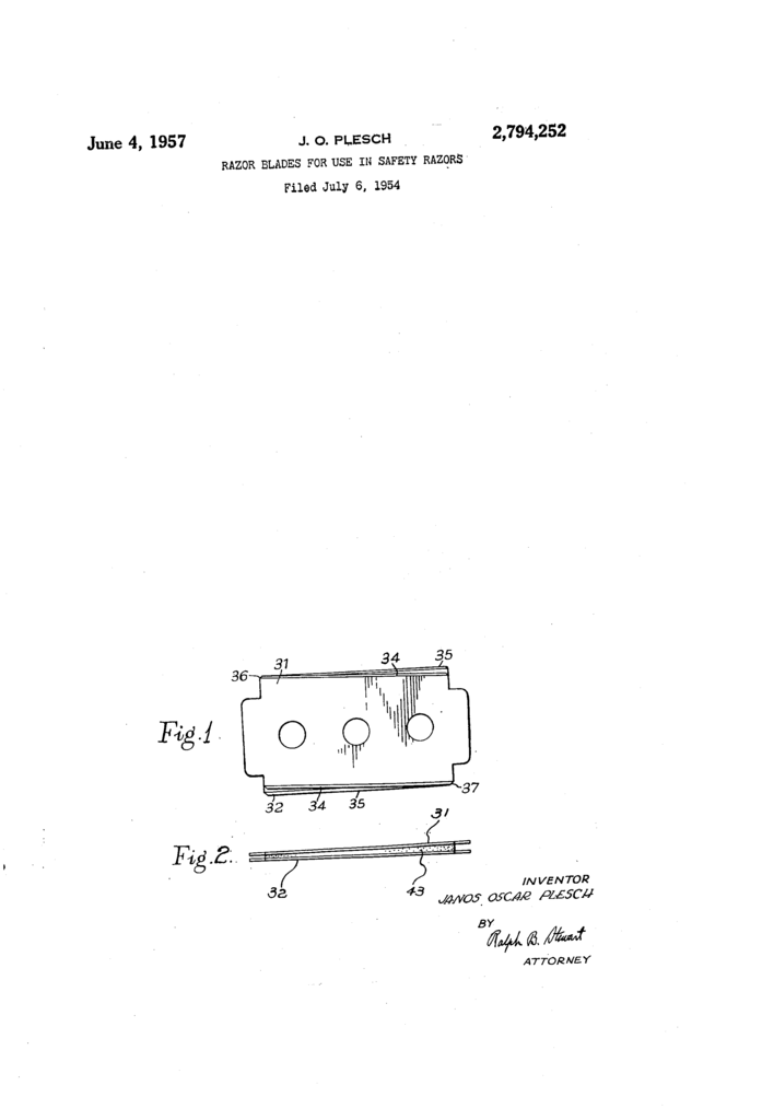 Patent drawing showing the double double edged blade, with the upper blades being both narrower and non-parallel to the lower blade.