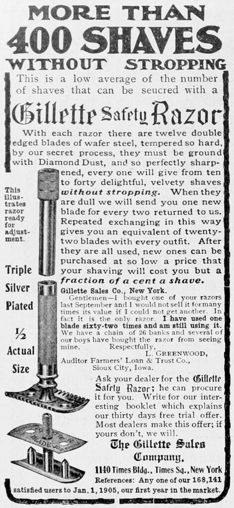 Ad for Gillette Safety Razors, The literary Digest 1905-05-20.