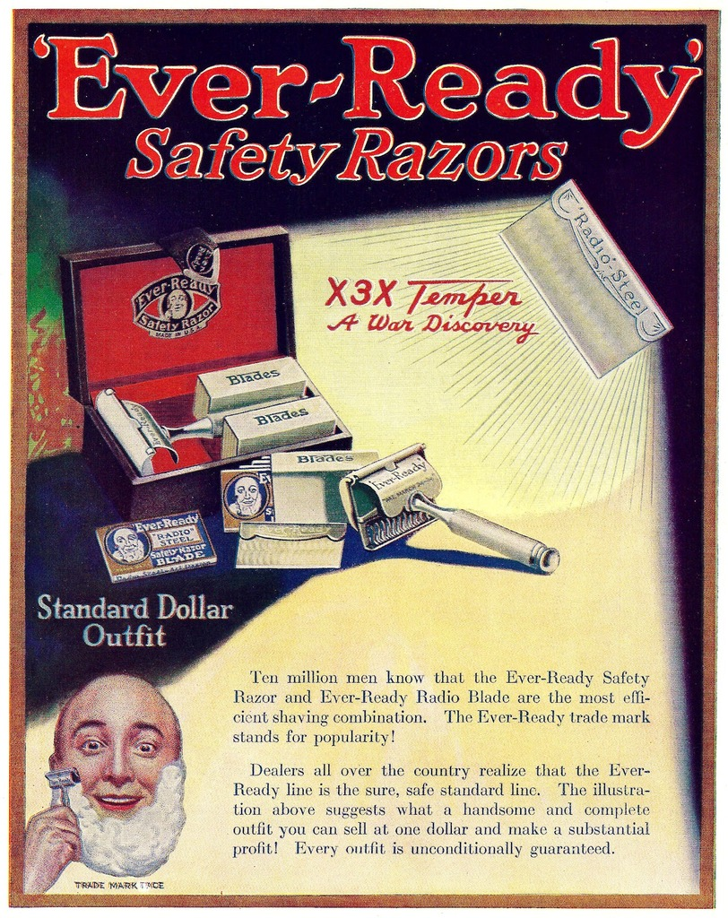 Vintage advertisement for EverReady Radio razor blades with X3X temper.
