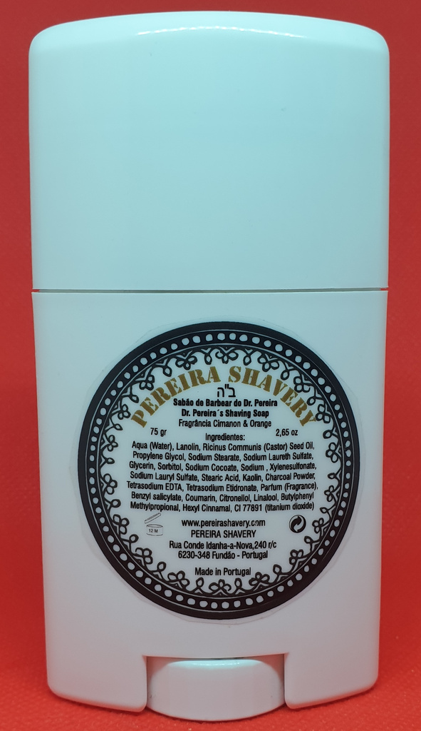 The back of the Pereira charcoal soap shaving stick, showing the list of ingredients.