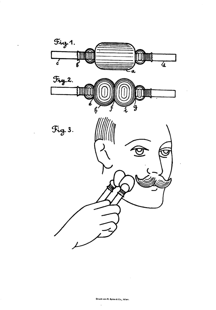 Patent image from Dr Samuel Schereschewskij patent showing the lathering device before and after making lather, as well as method of applying it to the face.