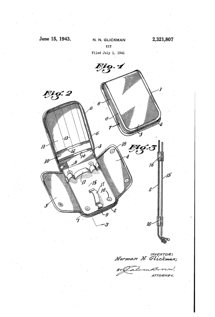 The patent drawing for the Buddy Kit, showing the perspective view of the kit opened and closed.