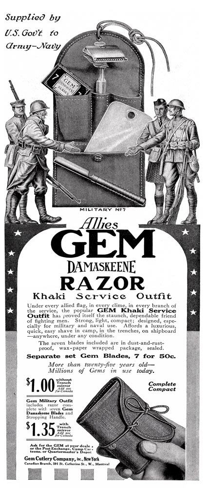 Ad for the GEM Military No7 - also known as the GEM Damaskeene Razor Khaki Service Outfit