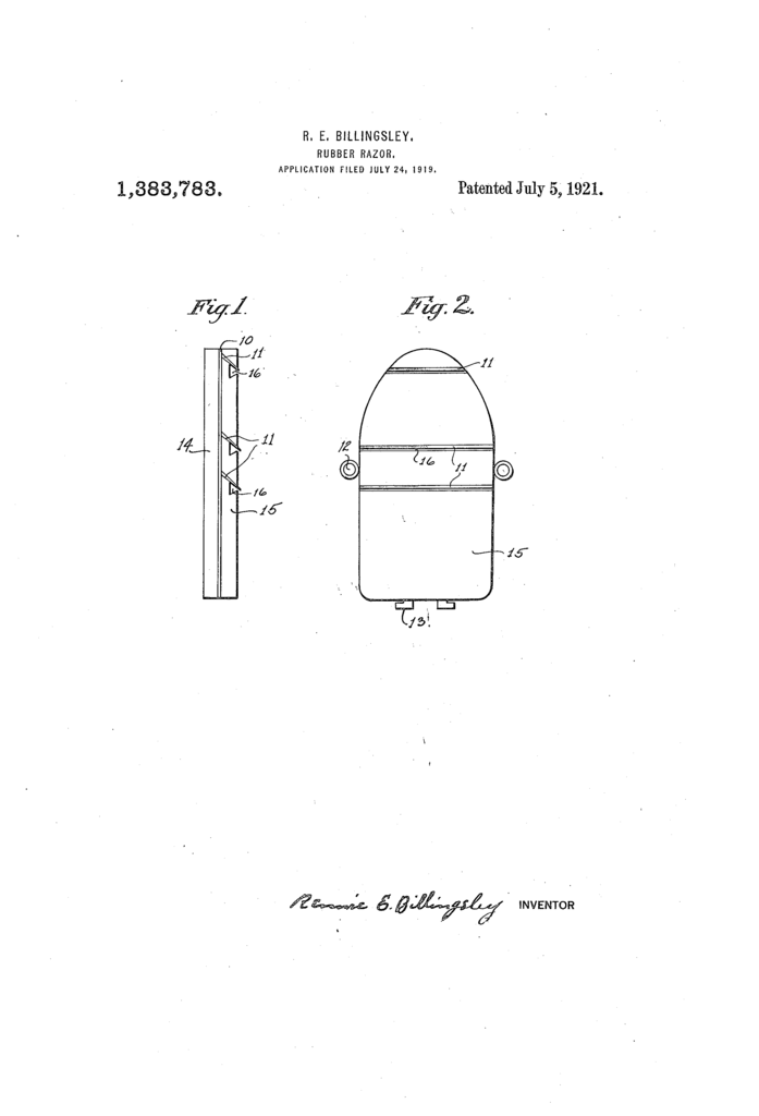Patent drawing for Rennie E Billingsley's rubber razor.
