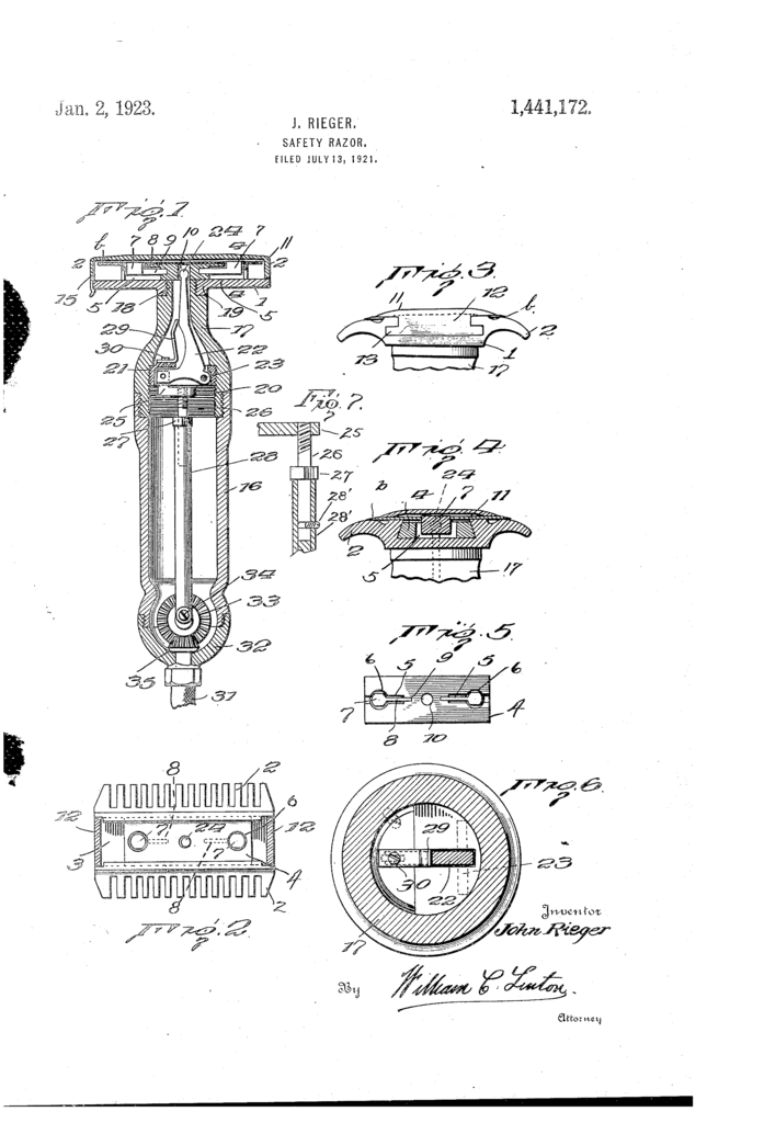 The patent drawing for John Riegel's externally powered reciprocating razor.