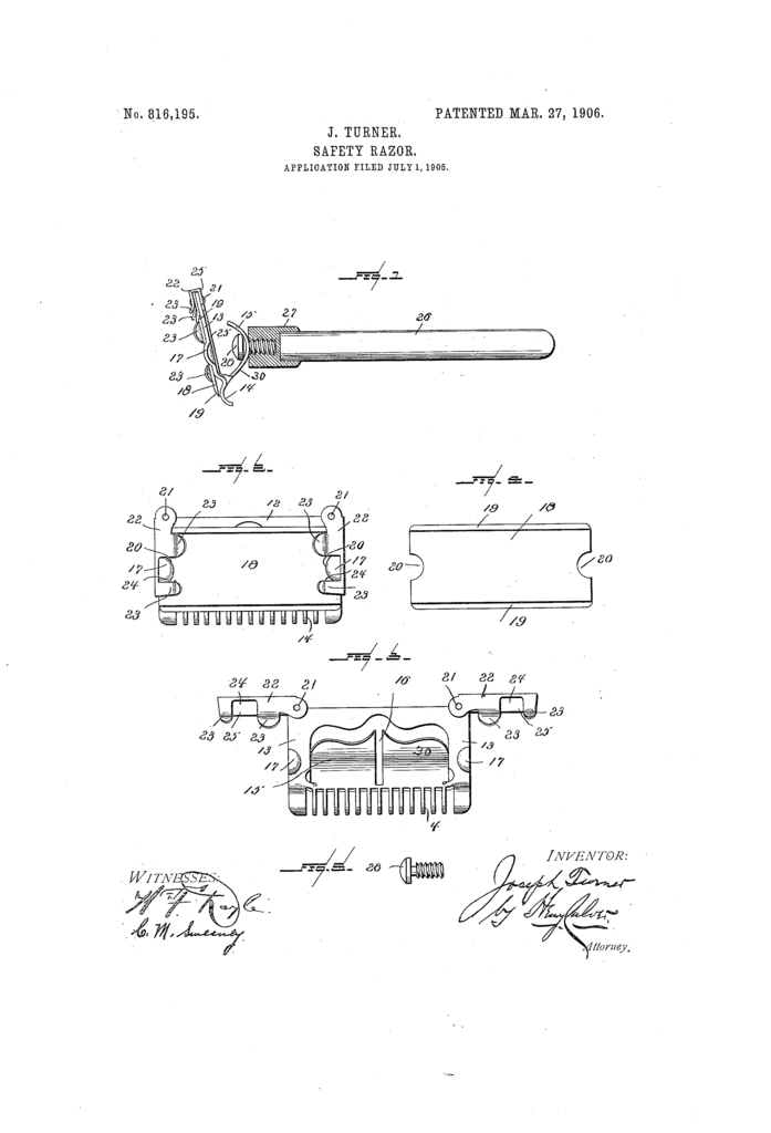 Patent drawing for US816195 showing Joseph Turner's safety razor.