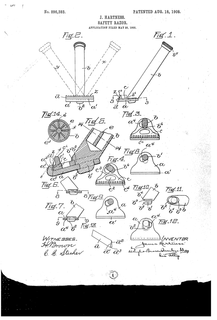 The patent drawing for James Hartnes' safety razor.