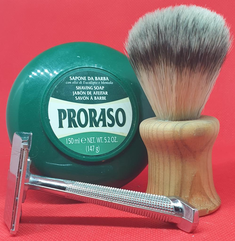 Vintage razor, decent soap, home made brush