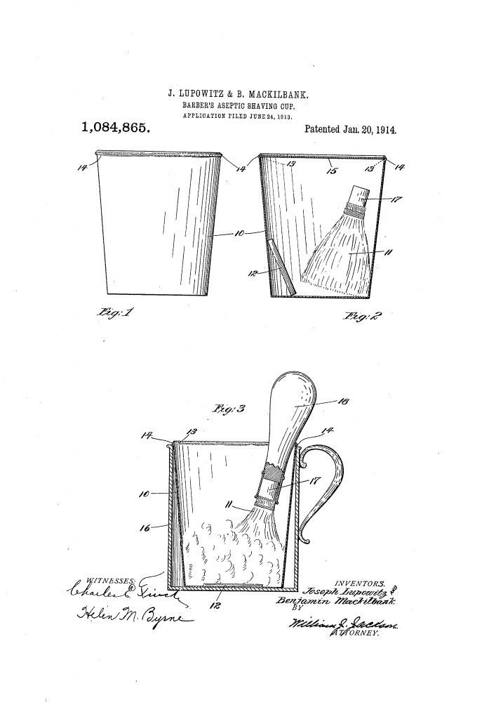 Patent drawing for US patent 1,084,865 - a barber's aseptic shaving cup, complete with soap and brush, intended for a single, hygienic and sanitary use.