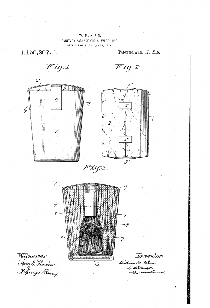 Patent image for US patent 1150207 - sanitary package for shavers' use