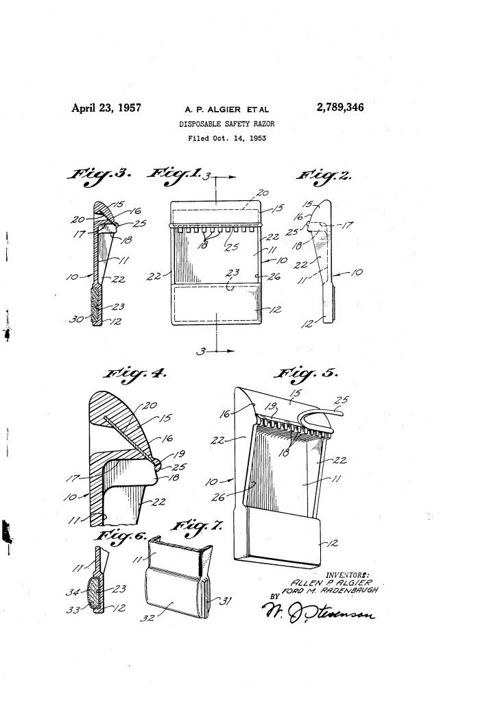 Patent drawing for US patent 2,789,346 - a disposable safety razor with room to catch lather.