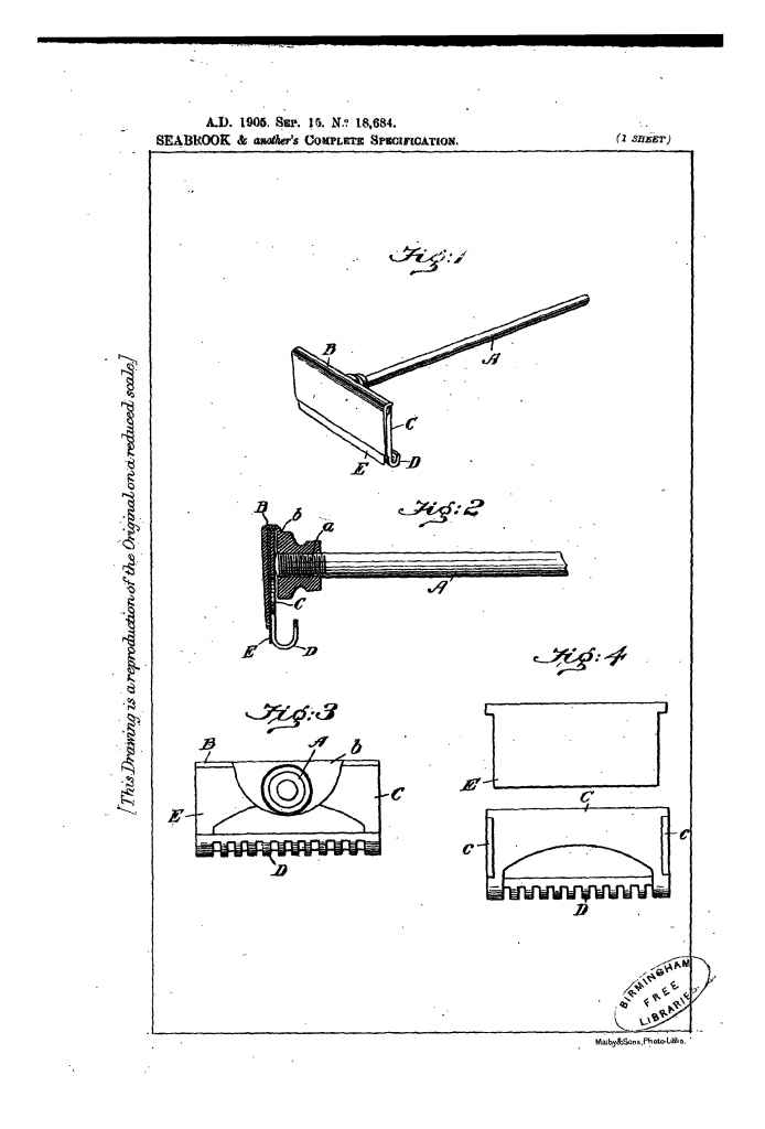 Drawing from British patent 1905-18684 showing the Searbrook safety razor