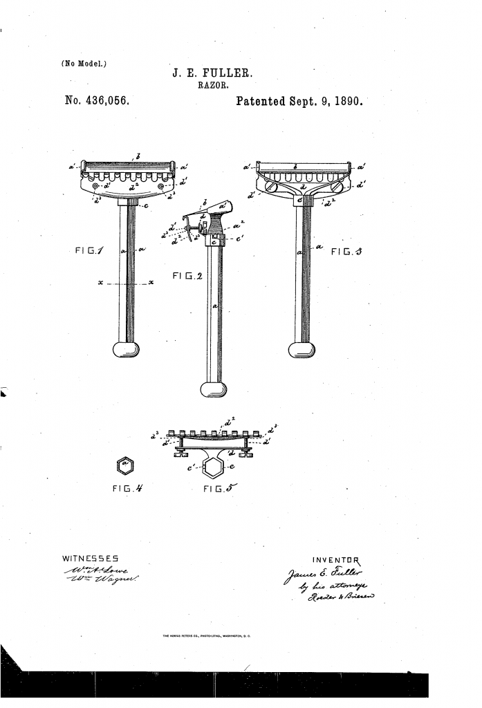 Patent drawing for US patent 436,056 - an adjustable wedge razor