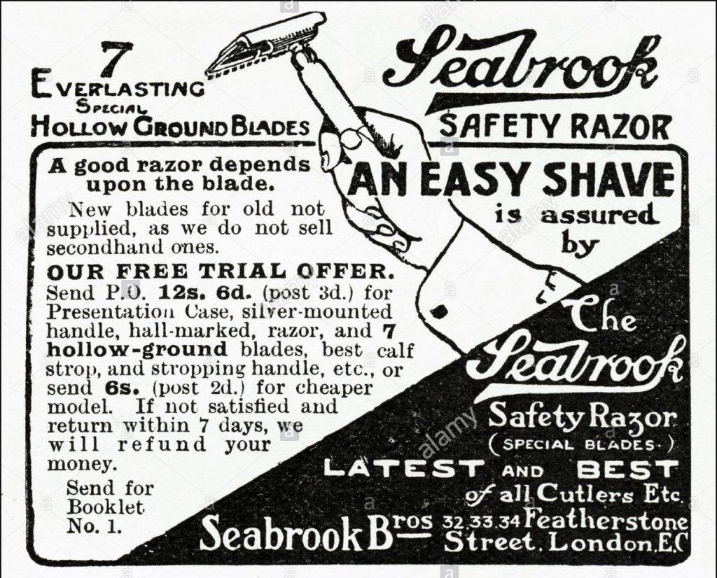 Seabrook Bros Safety Razor - British advertisement from 1900
